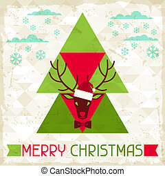 Merry Christmas background with deer in hipster style.