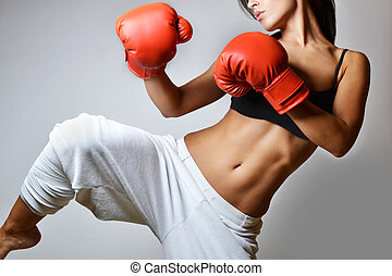 beautiful woman boxing - beautiful woman with the red boxing...