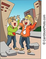 Vector of two scared engineers screaming at site. - Vector...
