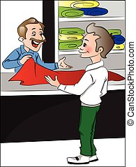Vector of shopkeeper helping customer to choose clothes. -...