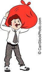 Vector of businessman carrying huge sack on shoulders. -...