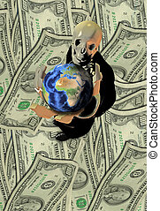 Greed - Business suited Skeleton holds earth