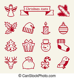 Set of Merry Christmas icons and objects.