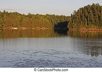 Muskoka Golden Light - A lake at sunset in cottage country....
