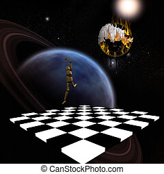 Surreal Composition - Planet, chessboard, leaping figure,...