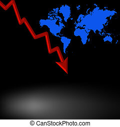 Downturn - Red decending arrow and world map