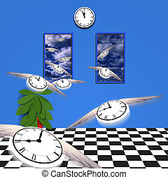 Flying time - Flying clocks fly out of room into open air