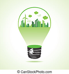 Eco cityscape in bulb stock vector