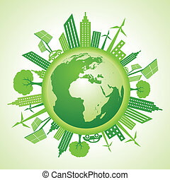 Eco earth with go green concept stock vector