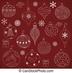 Christmas Ornaments - Hand drawn Christmas Ornaments...