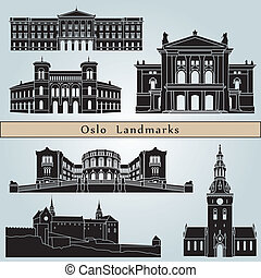 Oslo landmarks and monuments isolated on blue background in...