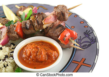 Beef Kebabs 8 - Beef kebabs and currant couscous with...