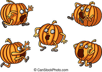 Halloween Runaway Pumpkin set - Illustration of cartoon...