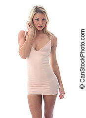 Model Released Attractive Young Woman Short Tight Mini Dress...