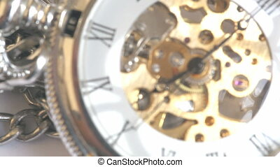 pocket watch and the movement mechanism close-up