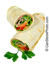 Ham And Salad Wrap - Freshly prepared ham and salad wrap...