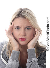 Model Released Attractive Young Woman With a Headache