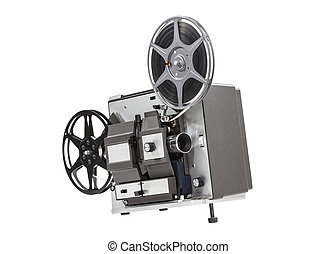 Old Movie Film Projector Isolated - Old movie film projector...