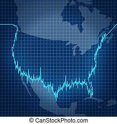 norteamericano, acción, Mercado