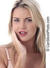 modelo, liberado, joven, mujer, con, Dolor de muelas