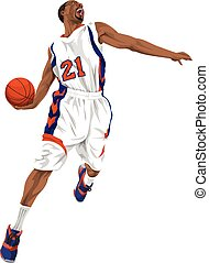Vector of basketball player going for a slam dunk - Vector...
