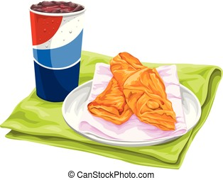 Vector of fresh pastries with pepsi. - Vector illustration...
