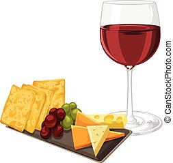 Vector of red wine with cheese, cookie and grapes - Vector...