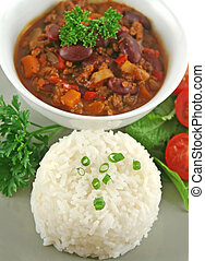 Rice Stack Chili Con Carne - Colorful and spicy chili con...