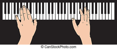 hands playing piano (playing piano, piano play)