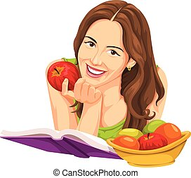 Vector of woman holding apple and reading a book - Vector...