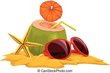 Vector of coconut, starfish and sunglasses at beach. -...