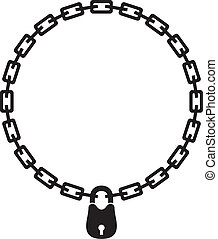 chain and padlock silhouette - illustration of chain and...