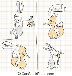 the fox and the hare - Illustration relations hares and...