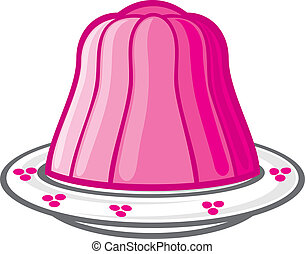 pudding in white dish (vector illustration of a jelly)