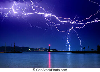 Lightning above the lake - A big lightning above the lake.