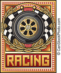 sports race design (racing emblem, sports race emblem,wheel,...