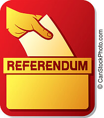 voting in the referendum - illustration of a ballot box hand...