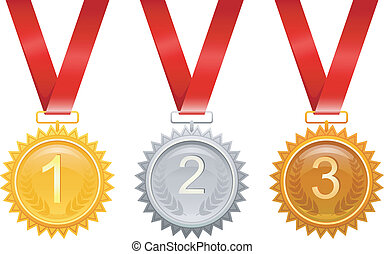 Three medals for awards - Vector illustration of Three...
