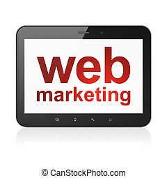 Web design concept: Web Marketing on tablet pc computer -...