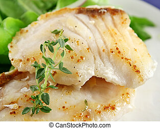 Pan Fried Fish - Background of pan fried Pearl Perch with...