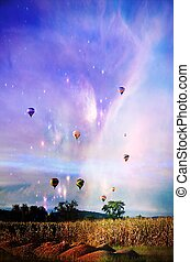 Fantasy Hot Air Balloons - A photo of hot air balloons...