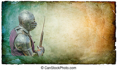 Armored knight with battle-axe - retro postcard - Armored...
