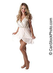 Model Released. Young Woman Wearing Sheer Flimsy Dress