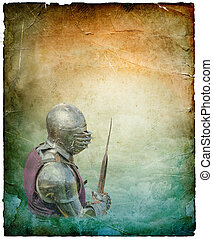 Armored knight with battle-axe - retro postcard on portrait...