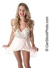 Model Released. Happy Young Woman Wearing Sheer Flimsy Dress