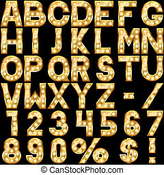 Golden alphabet with show lamps isolated on black background...