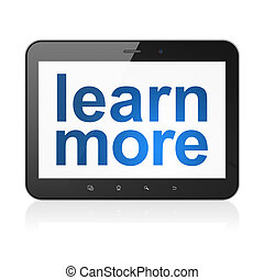 Education concept: Learn More on tablet pc computer -...