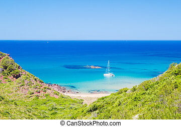 Cala del Pilar beach scenery in sunny day at Menorca, Spain