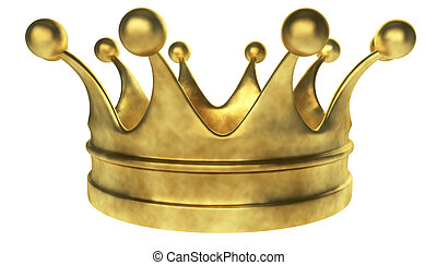 Old golden crown 3D render isolated on white background.