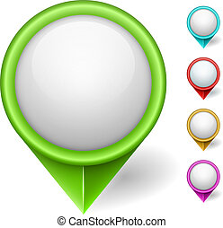Map position pointer color vector set isolated on black...